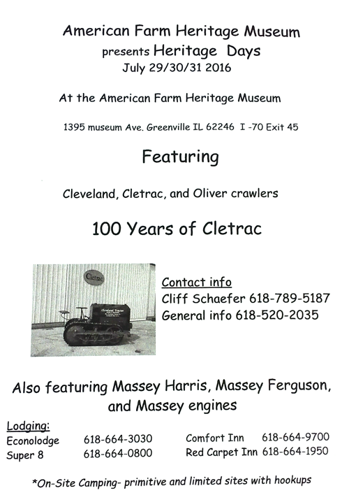 2016 American Farm Heritage Museum - 100th Anniversary of Cletrac
